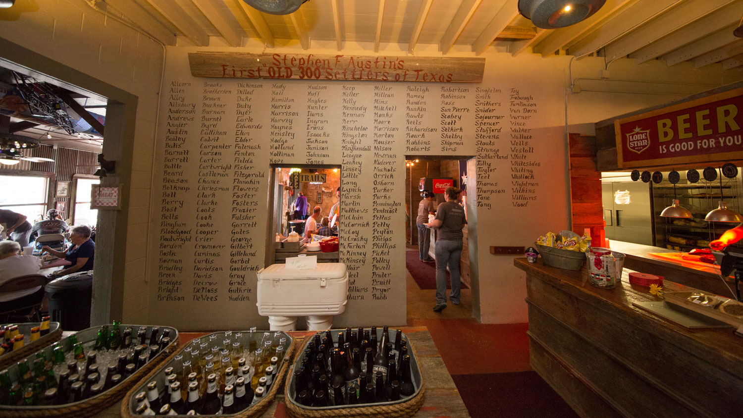 """A view of the """"old 300"""" wall at the restaurant"""