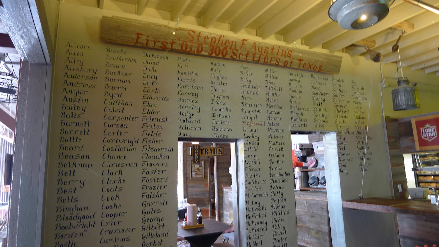 """A view of the """"Old 300"""" wall, featuring the surnames of the first 300 settlers"""