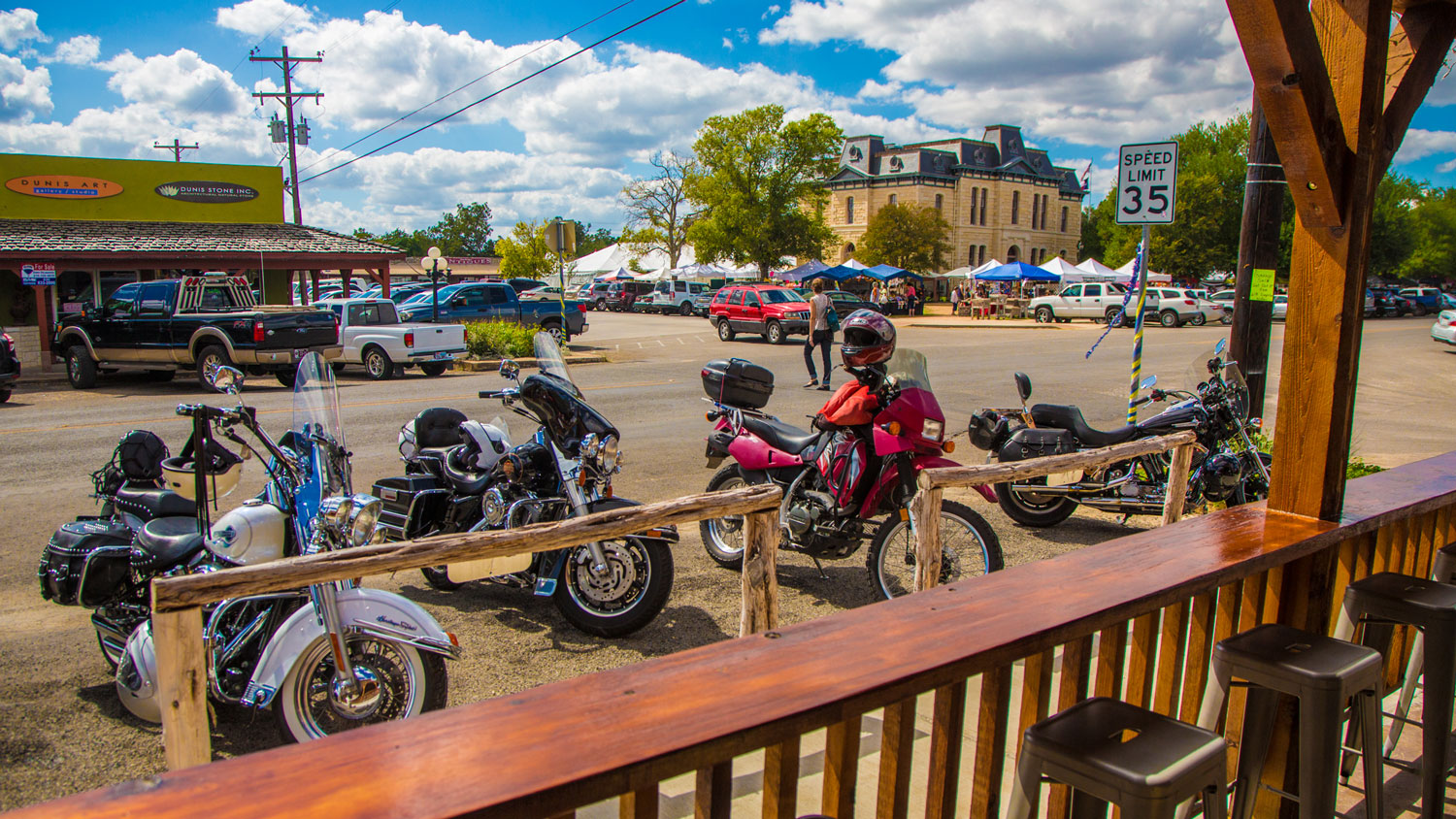 Motorcycles parked outside of the Old 300 BBQ
