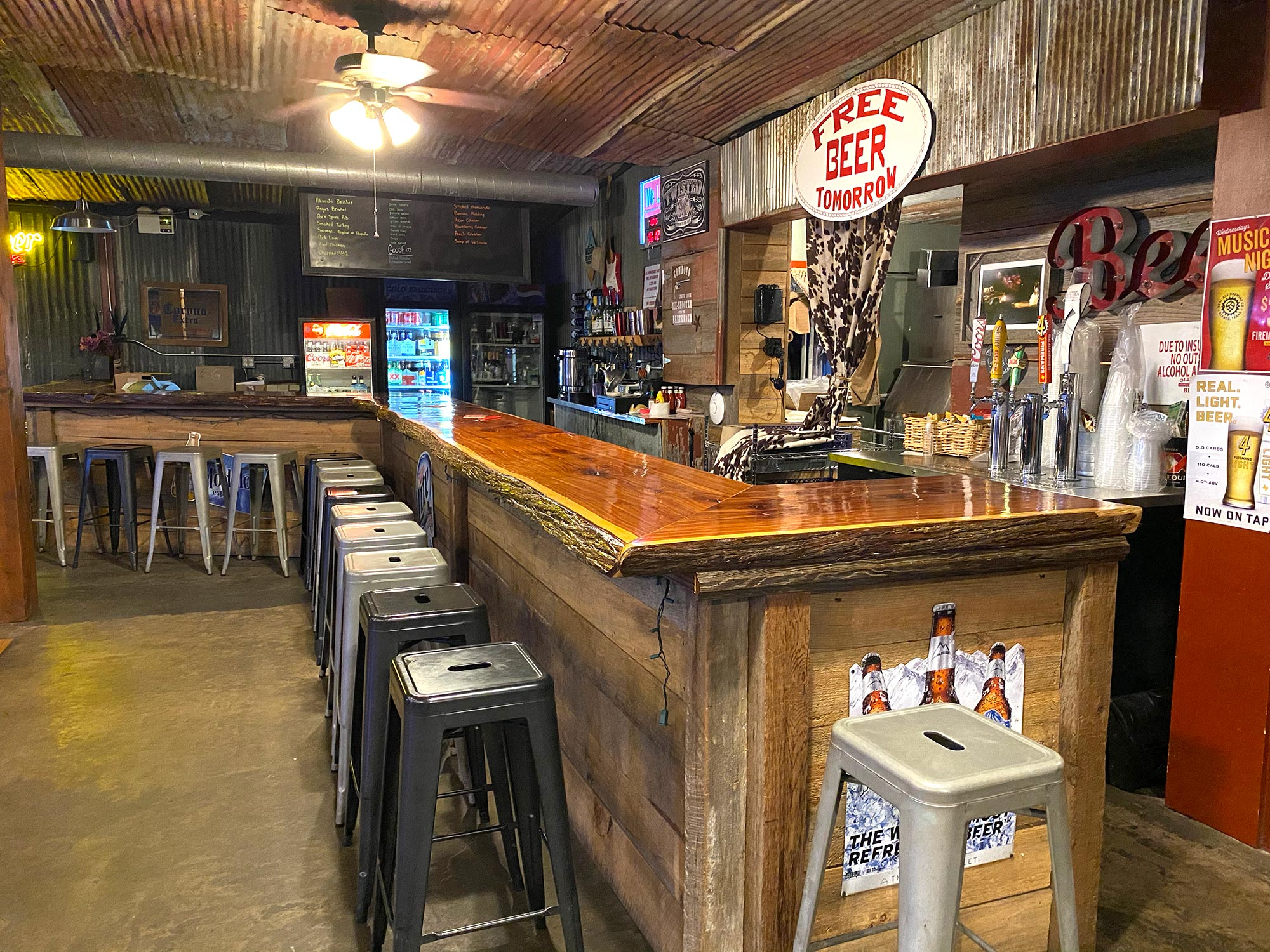 A view of the bar area at the Back 40 Dance Hall, Old 300 BBQ