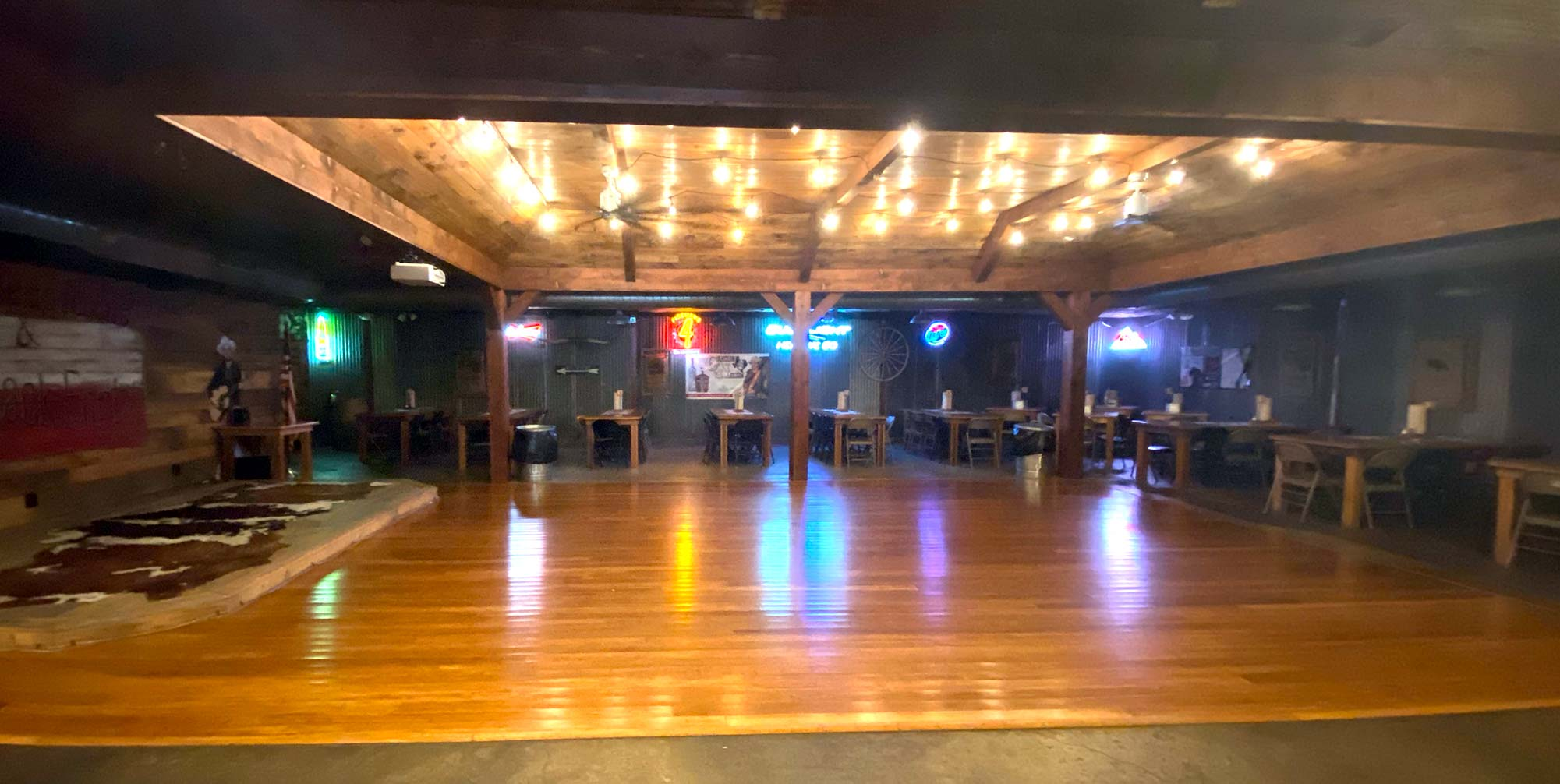 The dance floor at the Back 40 Dance Hall, Old 300 BBQ