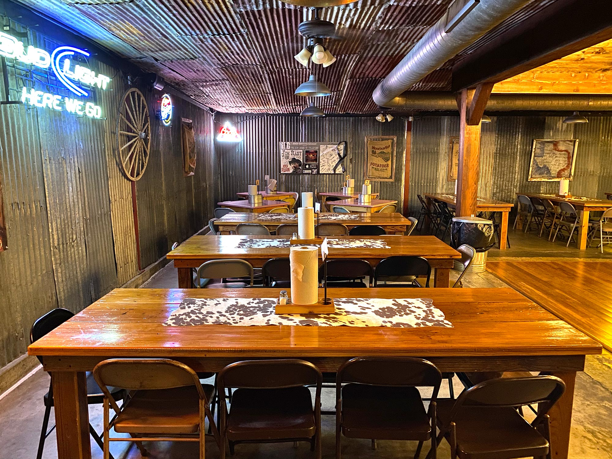 Dining area in the Back 40 Dance Hall, Old 300 BBQ